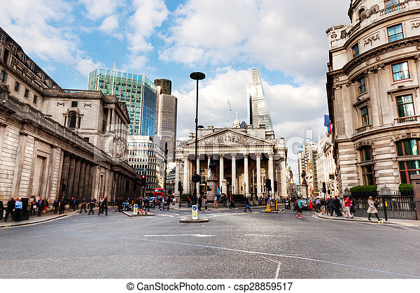 Bank of England, the Royal Exchange in London, the UK.  - csp28859517