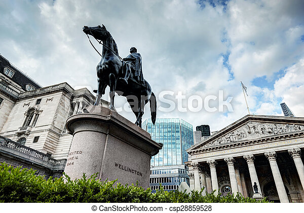 Bank of England, the Royal Exchange in London,, the Wellington statue - csp28859528