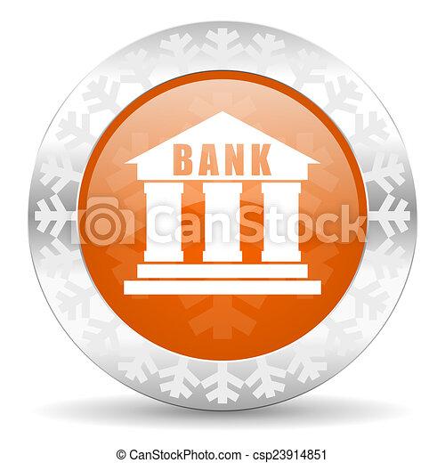 bank orange icon, christmas button - csp23914851