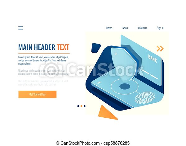 Bank protected operation, safety money transaction and payment, fingerprint access, credit card with shield and mobile phone isometric vector - csp58876285