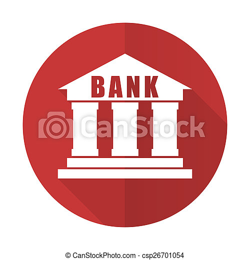 bank red flat icon - csp26701054