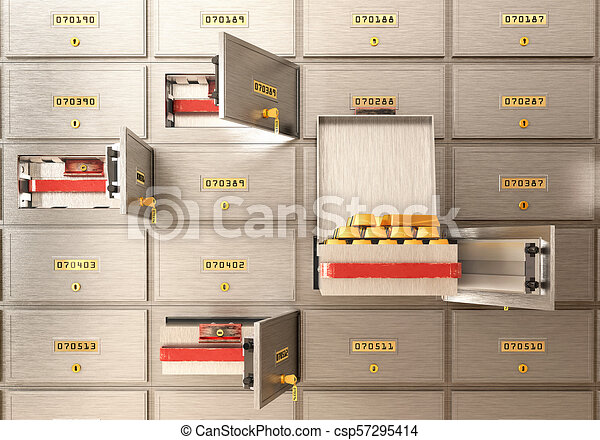 bank safe open cell with gold isolated 3d illustration - csp57295414