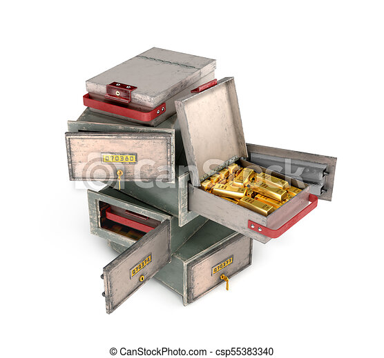 bank safe open cell with gold isolated 3d illustration - csp55383340