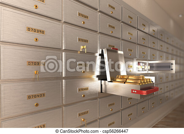 bank safe open cell with gold isolated 3d illustration - csp56266447