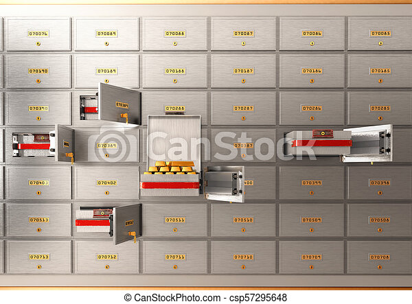 Bank safe open cell with gold isolated 3d illustration - csp57295648