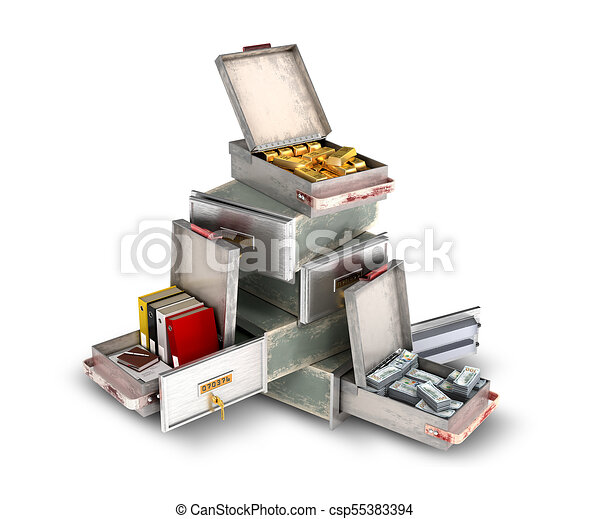 bank safe open cell with gold, money and documents isolated 3d illustration - csp55383394