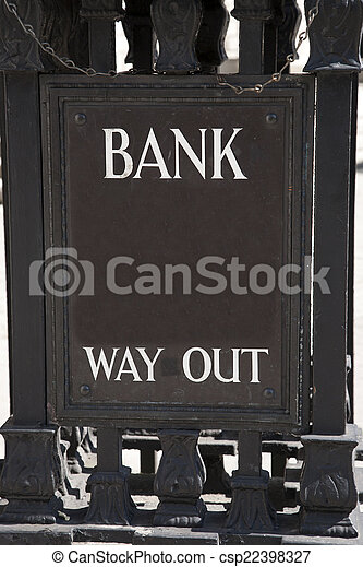Bank Way Out Sign in Urban Setting - csp22398327