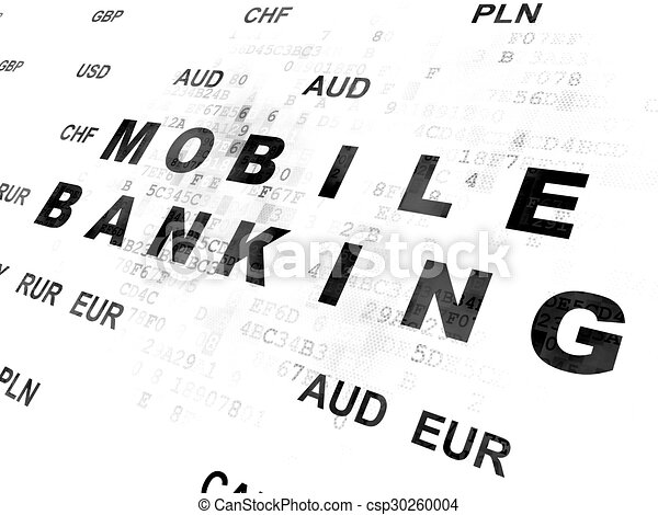 Banking concept: Mobile Banking on Digital background - csp30260004