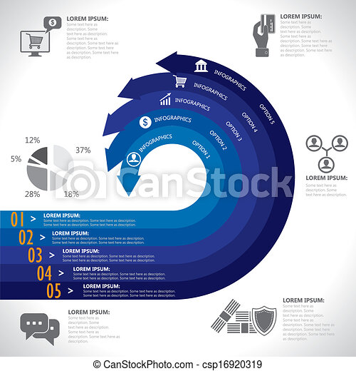 banking, finance, money & e-commerce related infographics vector. This graphic template also represents commercial business, statistics, security, data analysis & reports - csp16920319