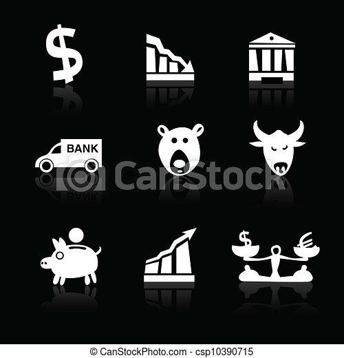 Banking icons hand drawn part 1 white on black - csp10390715