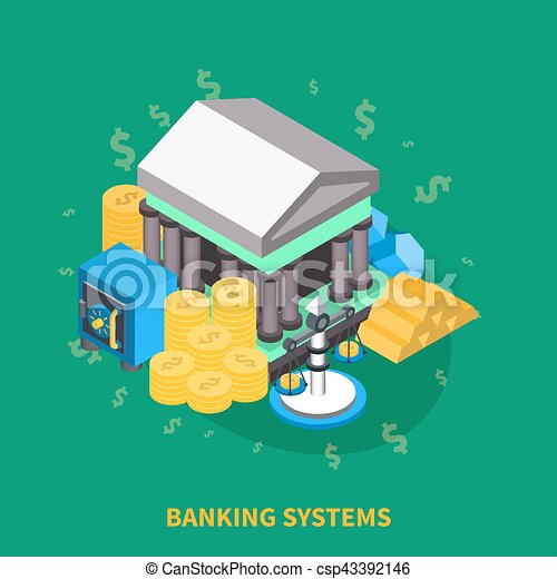Banking Systems Isometric Round Composition - csp43392146
