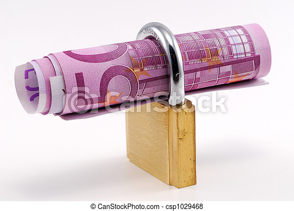 Ein Schloss mit Banknoten über weißem Hintergrund - csp1029468