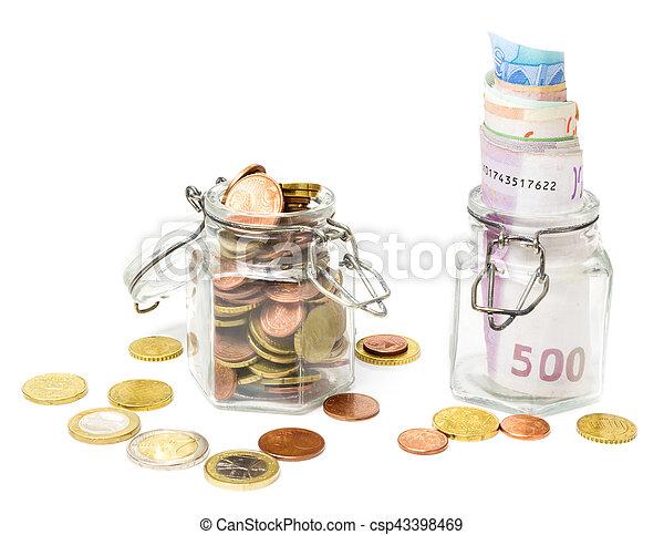 banknoten, glas, geldmünzen, geld, retten - csp43398469
