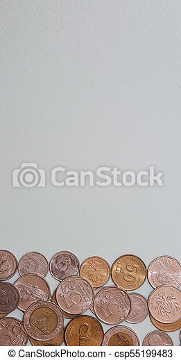 Banknotes and coins on the table - csp55199483