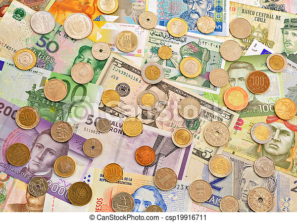 Banknotes and coins. - csp19916711