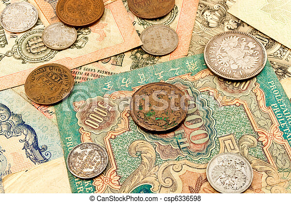 banknotes and coins - csp6336598