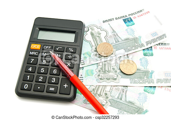 banknotes, calculator and pen on white - csp32257293
