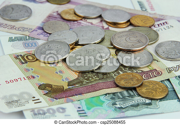 banknotes coins rubles - csp25088455