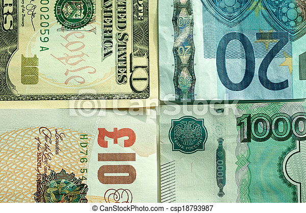 Banknotes: dollar, euro, british po - csp18793987