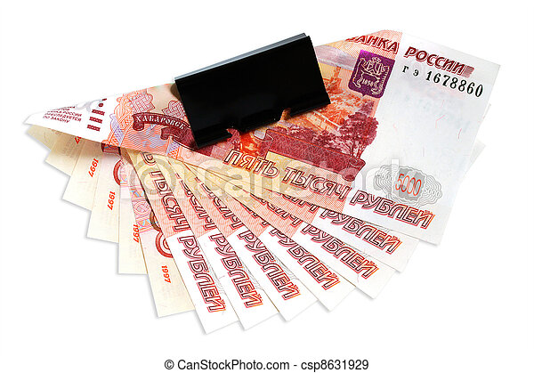 Banknotes of Russian rubles on a white background. - csp8631929