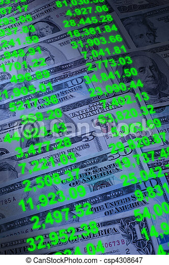 Banknotes of various dollar denominations with account transaction numbers superimposed - csp4308647