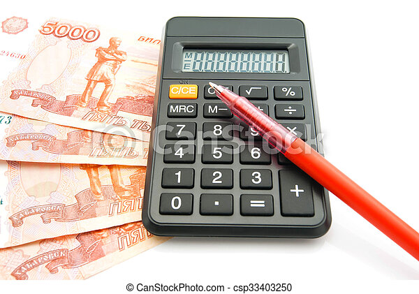 banknotes, pen and black calculator - csp33403250