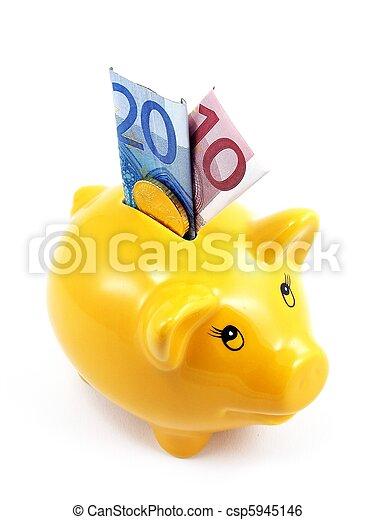 banknotes, piggy bank, euro - csp5945146