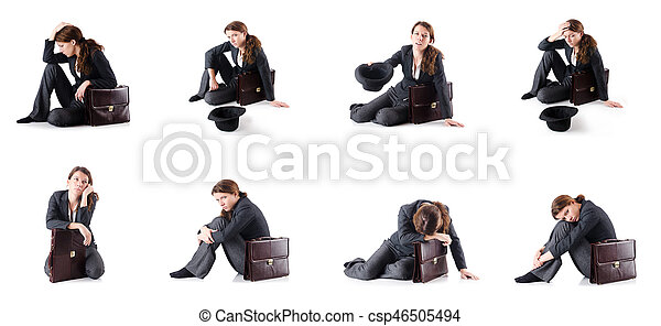 Bankrupt businesswoman isolated on white - csp46505494
