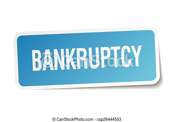 bankruptcy blue square sticker isolated on white - csp26444553