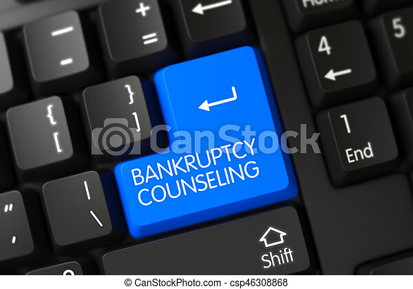 Bankruptcy Counseling Close Up of Blue Keyboard Key. 3D. - csp46308868