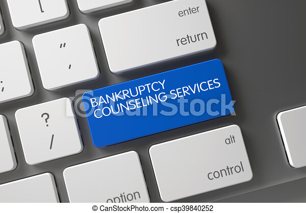 Bankruptcy Counseling Services Close Up of Keyboard. 3D Illustration. - csp39840252