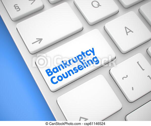 Bankruptcy Counseling - Text on White Keyboard Button. 3D. - csp61146524