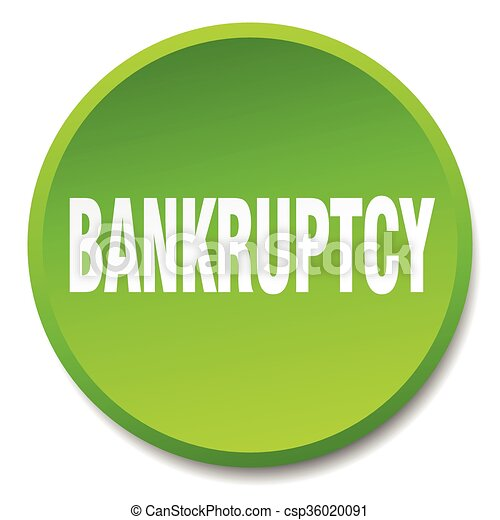 bankruptcy green round flat isolated push button - csp36020091