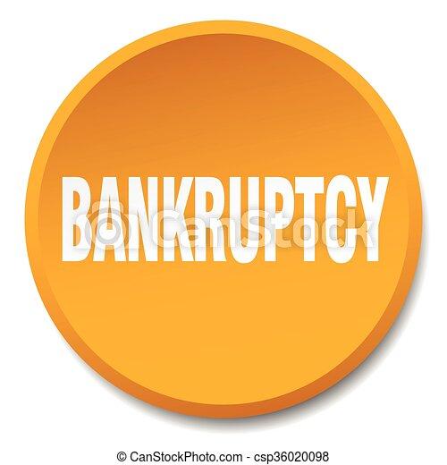 bankruptcy orange round flat isolated push button - csp36020098