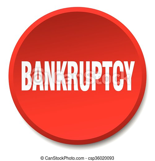 bankruptcy red round flat isolated push button - csp36020093