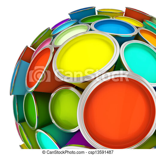 Banks of multicolored paint in sphere - csp13591487