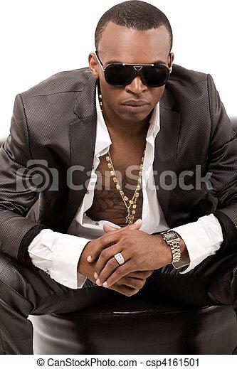 bankstel, black , neiging, voorkant, man, mooi - csp4161501
