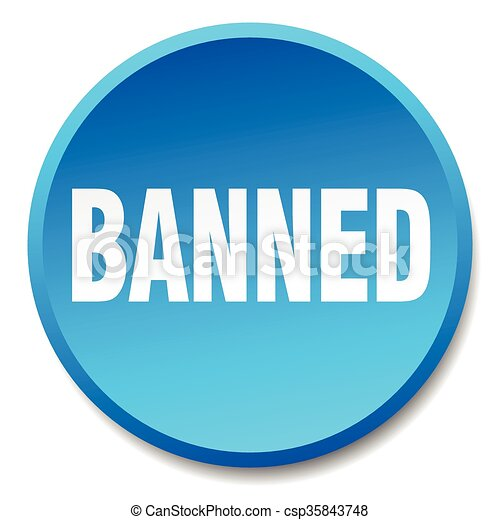 banned blue round flat isolated push button - csp35843748