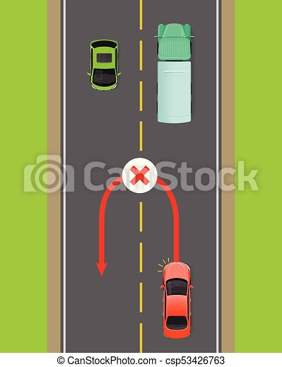 banned car u-turn flat vector diagram - csp53426763