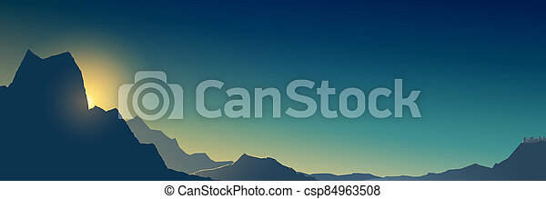 Banner at sunrise in the mountains - csp84963508