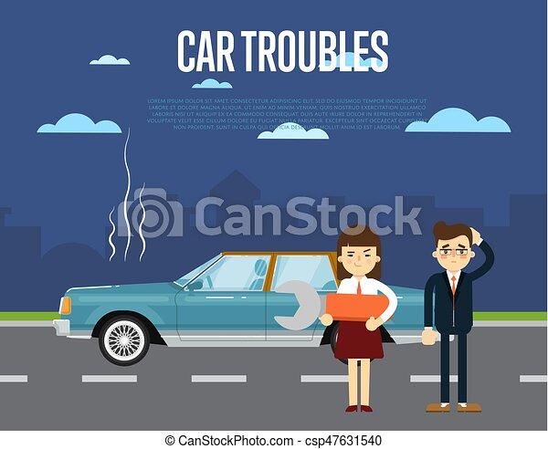 Banner, auto, kaputte , schwierigkeiten, leute. Stehende , reparatur ...