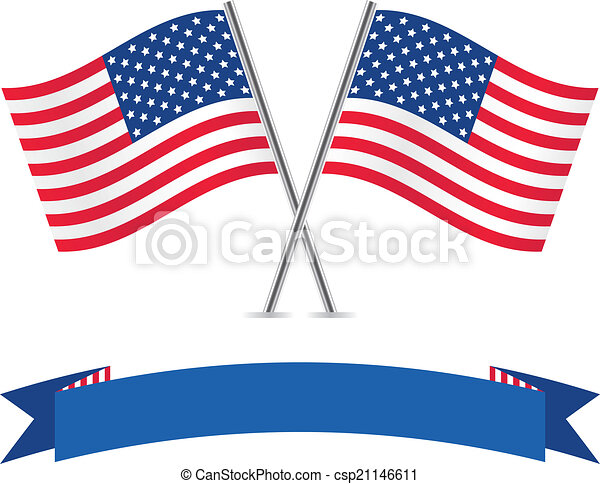 Banderas americanas y pancartas. - csp21146611