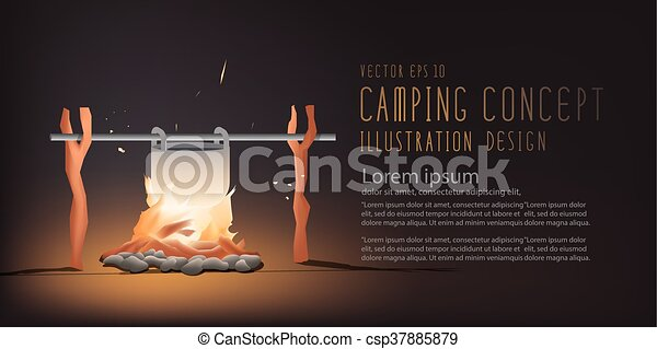 Banner Beautiful Campfire Cooking For A Living In The Night Vector But It Can Be Used On Day