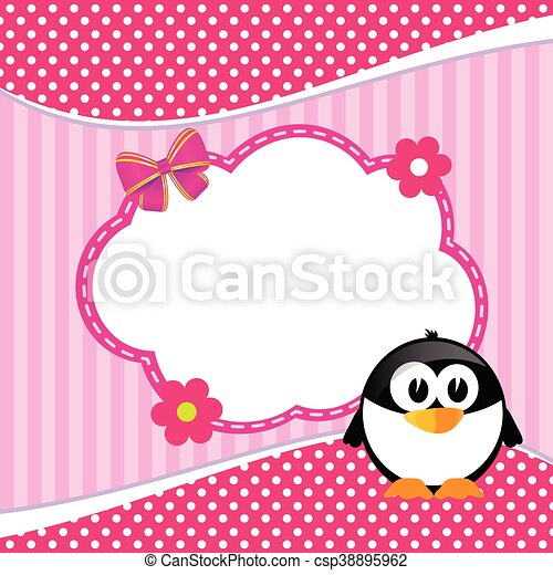 banner for children with penguin animal illustration - csp38895962