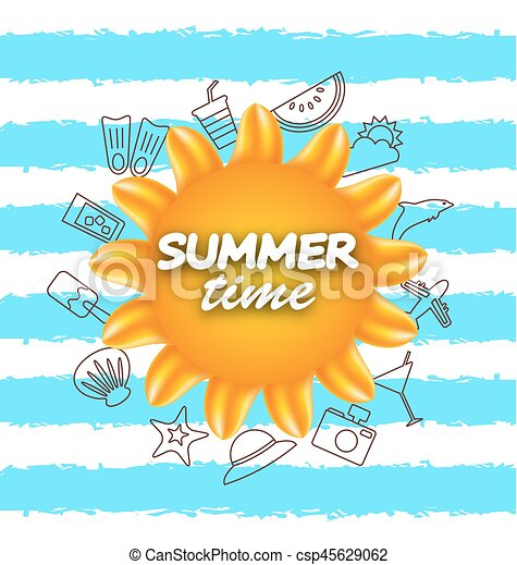 Banner For Summer Time Vacation Background With Hand Drawing Elements