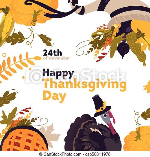 Banner, frame with cartoon thanksgiving symbols. Banner,... vectors ...