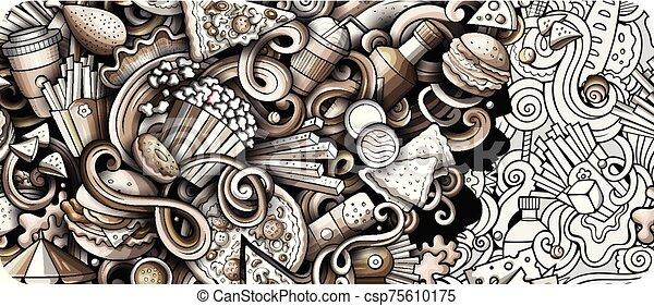banner., gedetailleerd, doodle, illustraties, getrokken, fastfood, hand, spotprent - csp75610175