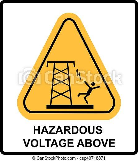 Banner, gefährlich, above., vektor, spannung, warnung. Warnung, oder ...