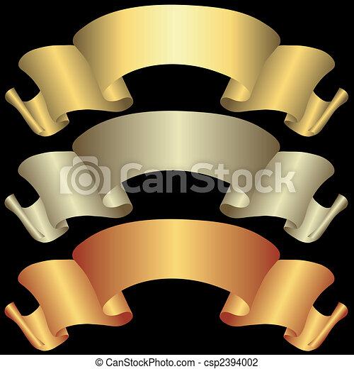 Goldene, silberne und bronzefarbene Banner - csp2394002