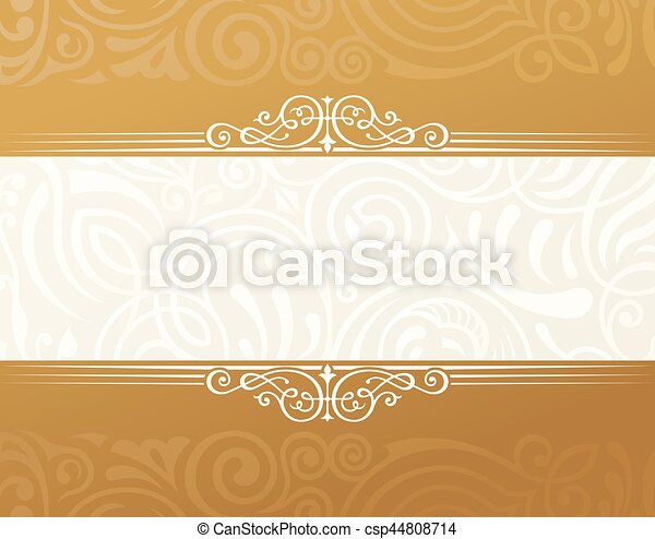 Banner Islam Ethnic Design Gold Invitation Vintage Label Frame Blank Sticker Emblem Eastern White Illustration For Text